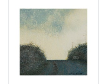 6x6 Road Trip Art Print Landscape Soft Clouds Sky Ready to Frame Home Small Square Wall Art Pastel Original on Textured Watercolor Paper