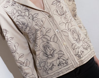 Vintage Floral Blouse Black and Cream Rose Print Striped Polyester Top