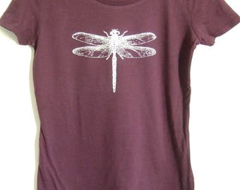 Dragonfly silver printed Womens cotton short sleeve T shirt eggplant