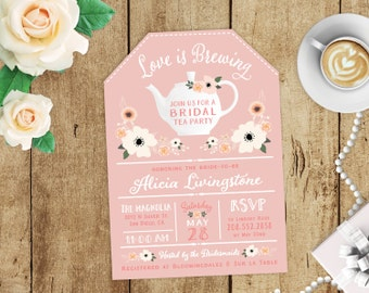 Love is Brewing Floral Bridal Shower High Tea Party Invitations - Blush Pink, Ivory FREE CUSTOM COLORS - Tea Cup Printed Invites & Envelopes