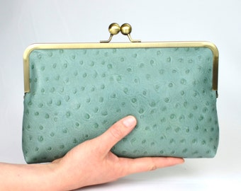 Turquoise mock ostrich leather -mint clutch - large purse frame bag - evening clutch bag - gift for her - Dara Ford
