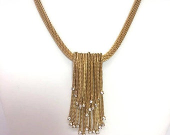 Statement Necklace Hattie Carnegie Necklace SIGNED Waterfall Gold Tone Coiled Necklace Cascading Rhinestones