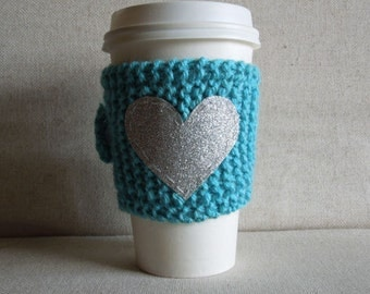 Teal Coffee Cozy with Silver Glitter Heart, Mug Sweater, Coffee Cozy, Coffee Sleeve, Mug Cozy