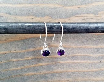 Sterling Silver Amethyst Earrings, February Birth Stone, Purple Amethyst, Drop Earrings, Bezel Set Earrings, Small Earrings, Girls Earrings