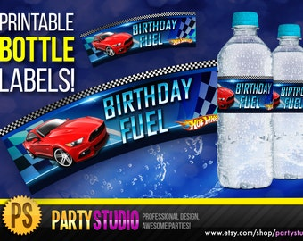Hot Wheels Bottle Labels - Hot Wheels Water Bottle Labels - Birthday Fuel - Birthday Party Printable, Decorations Ideas