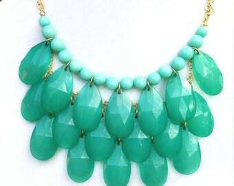 Mint Bib Statement Necklace - Bib Bubble Statement Necklace - Teardrop Beads - Teardrop Necklace - Stormy Seas Necklace - Mint Jewelry