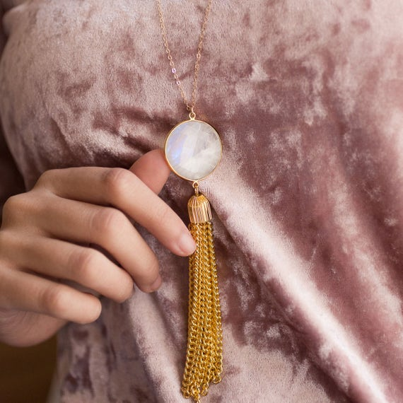 Moonstone Tassel Necklace