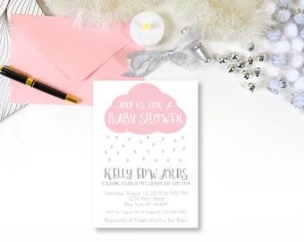Pink Rain Cloud Baby Shower Invitation, Raindrops, Rain drops, Shower with Love, Baby Shower Invitation, Printable, Rain shower, Editable