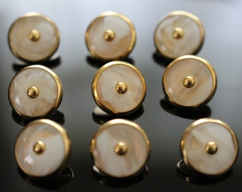 9 gold tone white cream faux mother of pearl buttons tiny shank lightweight metal buttons 11mm