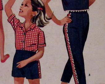 Vintage McCall's 1962  Sewing Pattern 6346  Girl's Sports Separates Blouse, Pants, Pants amd Shorts Size 10