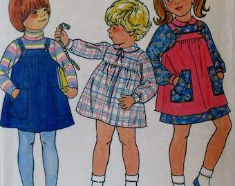 Vintage 1980s Butterick 6606 Toddler  Girls Jumper and Dress, Size 1