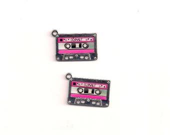 Charms: Cassette Tape, Set of 2, 29x19mm, Love Tape, Mixtape Charm, Retro Tape Charm, Vintage Charm, 80s Charm, Cassette Pendant, SLT197