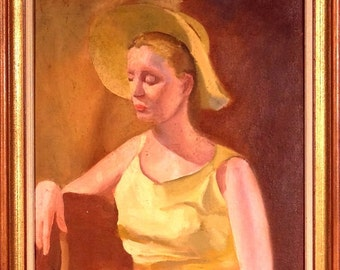 Superb ca.1950 American Young Lady w/Hat Portrait Painting Oil/Canvas w/Frame