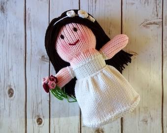 Brunette Bride Doll, Wedding Doll, Handmade Knit Dolly, Soft Plush Toy, Flower Girl Gift