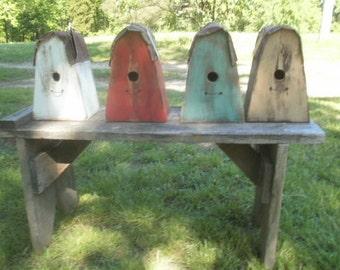 Outdoor Hanging Birdhouse  / distressed / primitive / metal roof/ wood