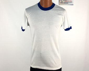 Vintage 80s Blue + White Blank Ringer T-Shirt MEDIUM // 1980s // 50-50 // Stedman // NOS // Deadstock // Soft & Thin // USA Made