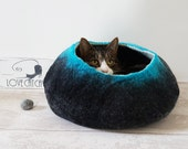 Large Cat Bed / Cat Cave / Cat House / Natural Grey and Orange Felted Cat Gift- Free Ball