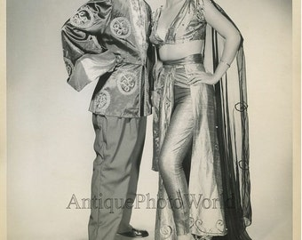 Couple performers in great costumes vintage photo