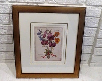 Framed Botanical Print Of A Wildflower Bouquet With Latin Names And Red Ribbon