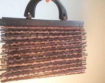 Vintage wooden purse - 1980's