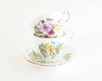 REGENCY Bold Blooms Tea for Two Bone China Cups and Saucers ENGLAND