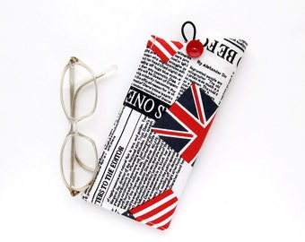 Glasses Case Newspaper, Eyeglass Case Newspaper, Soft Glasses Case Retro Newspaper, Countries Flags Pouch, Eye Glass Holder, White and Black