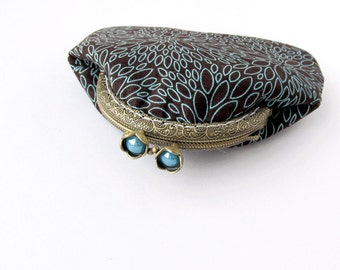 Coin purse brown, Blue floral purse, Turquoise change pouch, Metal frame coin purse,  Kisslock brown wallet