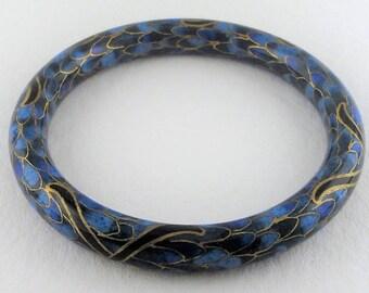 Solid Blue Lapis Bangle Bracelet Painted Collectible Unique Stone Jewelry