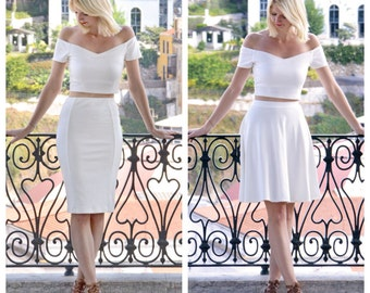 Audrey or Coco White High Waist CoOrds Set with Bardot Crop Top. Choose from Two Piece Off Shoulder Top with Skater Skirt or Pencil Skirt