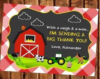 Farm Thank You Card, Farm Birthday, Farm Animals Thank You, Farm Party, Farm Invitation, Barnyard Birthday, Barnyard Thank you Card