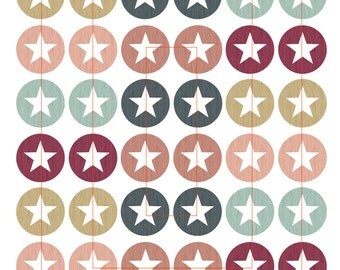 Digital collage sheet cabochon template images 005 star of stars - 20, 25, 30 mm