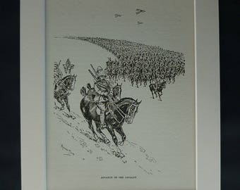 1930s Antique Military Print of the Battle of Megiddo, Available Framed, Palestine Art, Viscount Edmund Allenby, Equestrian Picture, Cavalry