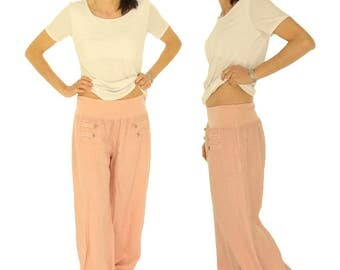 HF400RA42 ladies pants size L layered look antique optics Gr. 42/44 pink linen pants