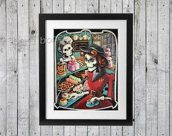 Vintage Skeleton Bakery Day of the Dead Art Print by Bones Nelson Mexican Folk Art Decor