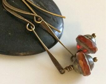 Orange Glass Earrings  Bohemian Earrings  Brass Earrings  Boho  Glass Dangles  Gypsy Dangles