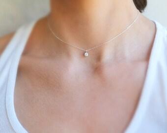 Tiny Silver Diamond Bezel Necklace, 14K Silver Diamond Necklace Choker, Cubic Zirconia Necklace Silver Necklace Bezel Set CZ Solitaire, Gift