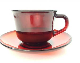 Ruby Red Coffee Cup and Saucer Arcoroc France Mug