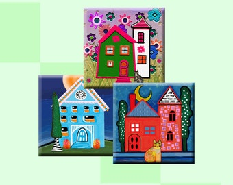 HOME SWEET HOME -  Digital Collage Sheet 1.5 inch square images for pendants, magnets, decoupage, scrap-booking etc. Instant Download #223.