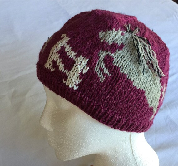 Knitting Pattern For Running Hat : Three Horses Hat Trot Jump Run Knitting Pattern Hat also