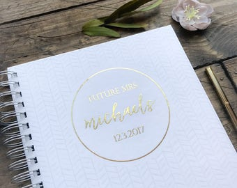 Modern wedding Notebook. Customized Gold Foil Wedding Memory Book. Modern wedding Notebook. Custom Bride Gift. Bridal Shower Guestbook
