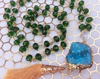 Garden Long Tassel Necklace, Statement Necklace, Rosary Style, Boho Necklace, Green Necklace, Long Druzy Necklace, Crystal Necklace