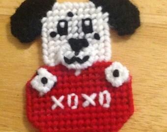 Dog Valentine Magnet,  Critter Magnet, Valentines Day, Dog Lover Gift, Fridge Magnet, Kids Magnet, Plastic canvas Magnet, Dog Needlepoint