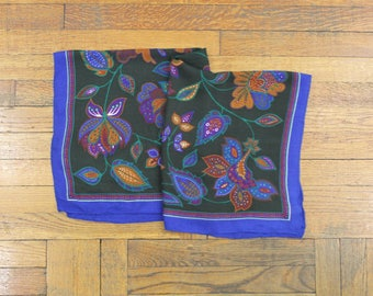 blue flowered scarf •  square scarf •  floral print scarf •  flowered head scarf • Italian scarf