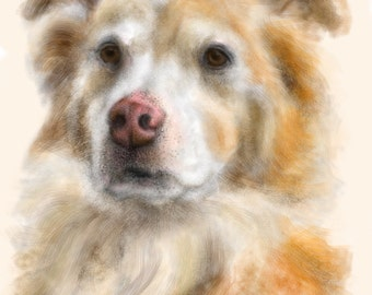Custom Dog Pet Portrait, custom portrait, dog portrait, pet portrait, dog lover, dog art, gift, wall art, dog, artwork, pet memorial, pet