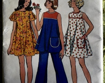 1974 Simplicity #5701 dress top and pants sewing pattern size 12 maternity
