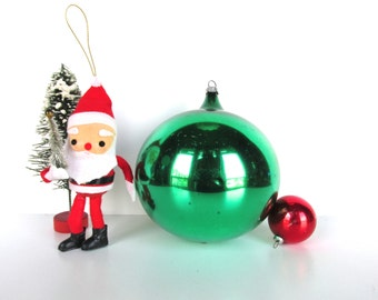 """Vintage Extra Large Glass Christmas Ornament, Hand Blown Glass Bulb, 4 3/4"""" Green Ornament From West Germany"""
