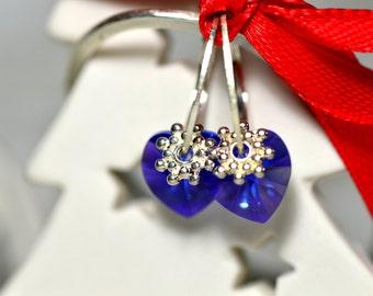 Blue Swarovski Heart Swarovski Blue Earrings Silver Earrings Swarovski Earrings Tiny Earrings Sterling Earrings Summer Earrings Gift for Her