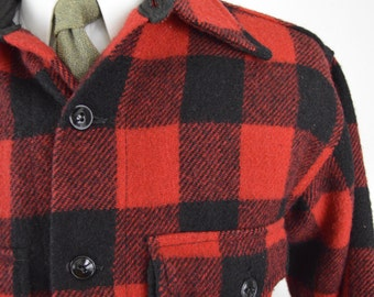 Vintage 1950s Red and Black Buffalo Plaid Wool Shirt/Jacket by Glendale Outerwear Size Large