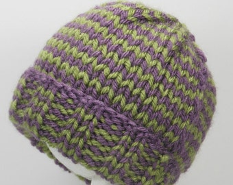 Purple, Green Hat - Hand Knit Newborn Cap - Acrylic Beanie for Infants 0 to 3 Months - Warm, Cozy Hospital Toque - Winter Baby Shower Gift