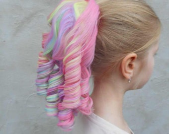 Pale rainbow Lolita  - candy color Lolita ringlet hairpiece